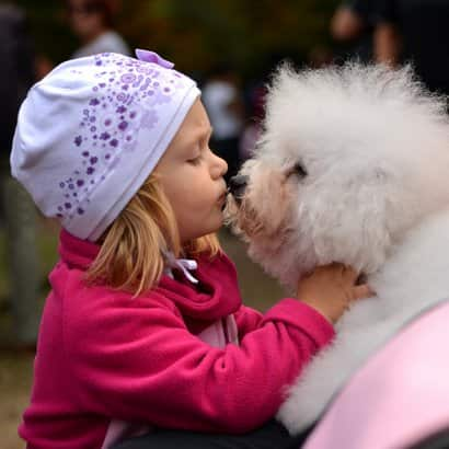 Girl with a white dog female